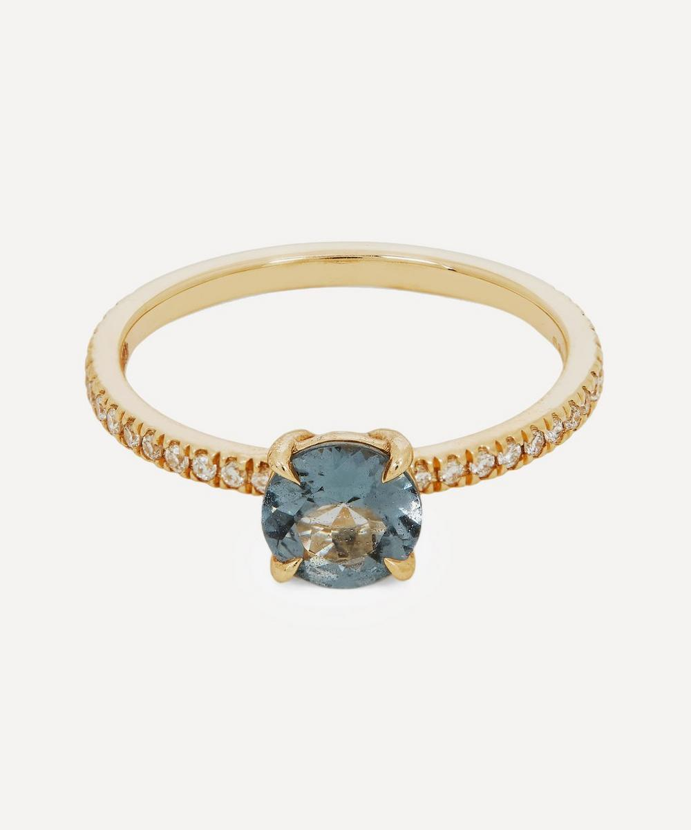 Anna Sheffield - Gold Eleonore Delicate Pavé Grey Spinel and Diamond Ring