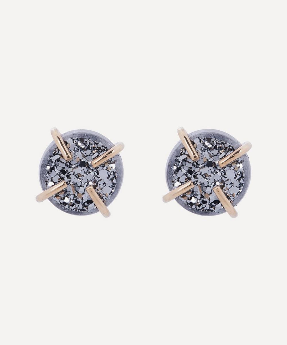 Melissa Joy Manning - Gold Silver Mist Druzy Stud Earrings