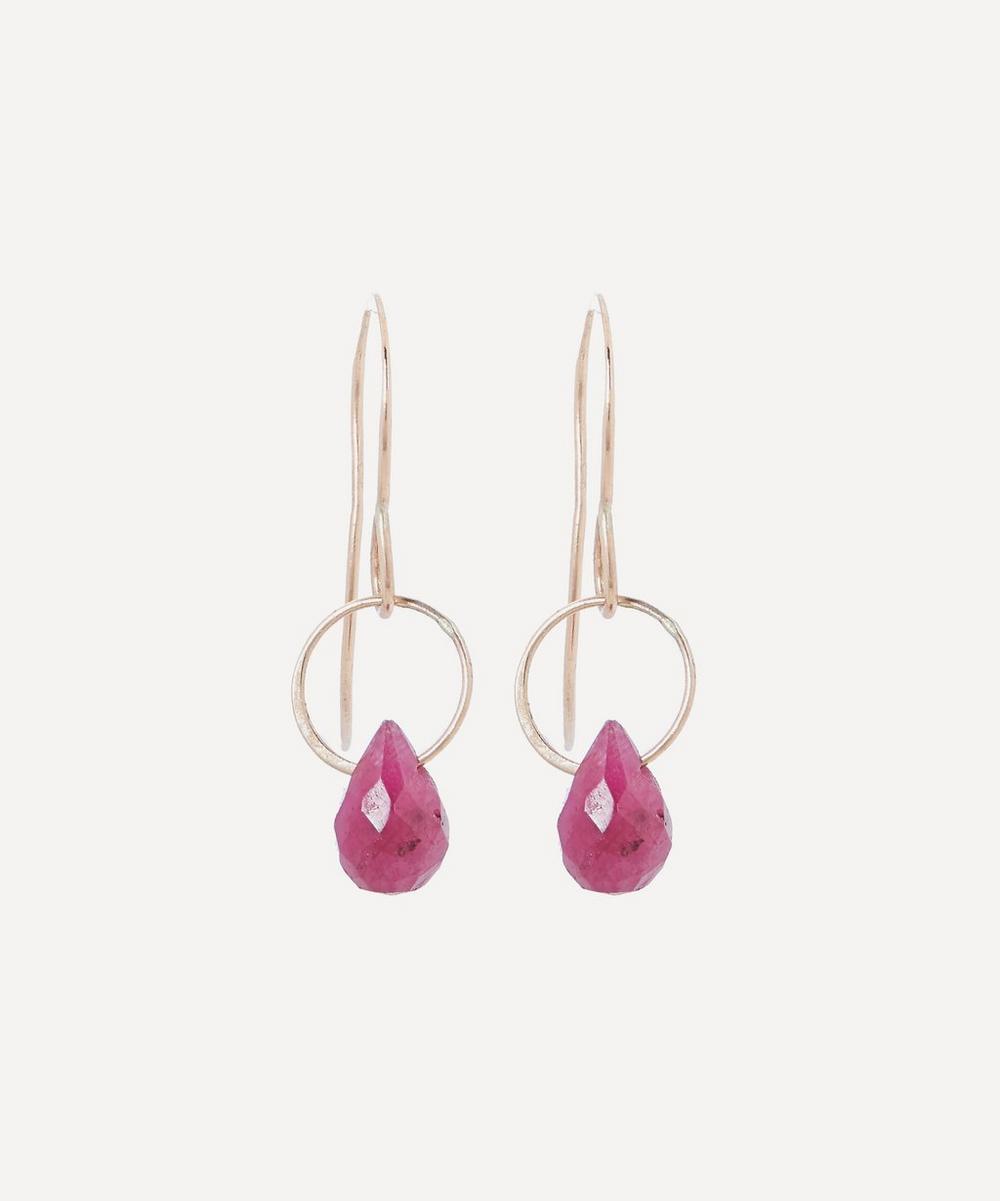 Melissa Joy Manning - Gold Ruby Single Drop Earrings