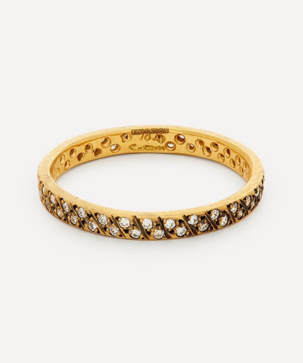 Satomi Kawakita - Gold Diagonal Antiqued Diamond Ring