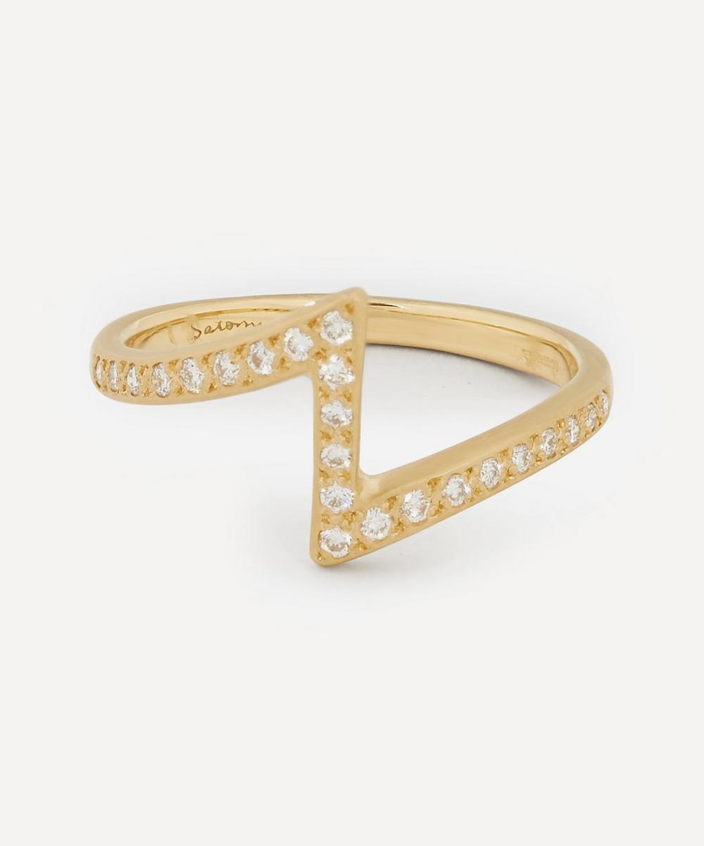 Satomi Kawakita - Gold White Diamond Lightning Ring