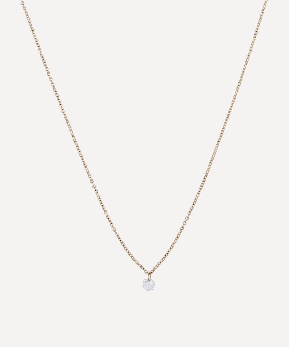 Satomi Kawakita - Gold Hexagon Diamond Drop Necklace