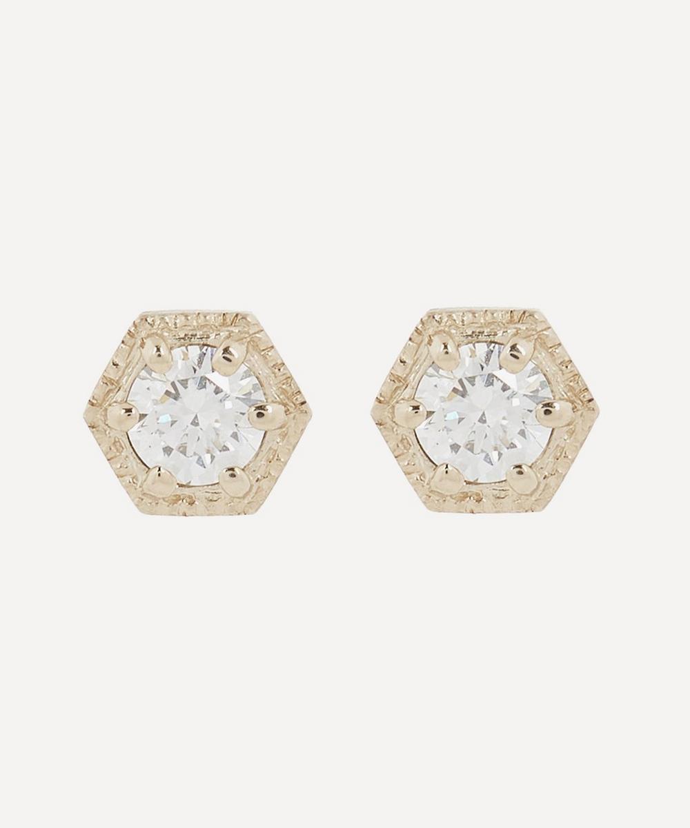 Satomi Kawakita - Gold Diamond Hexagon Stud Earrings