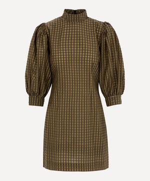 Seersucker High-Neck Dress