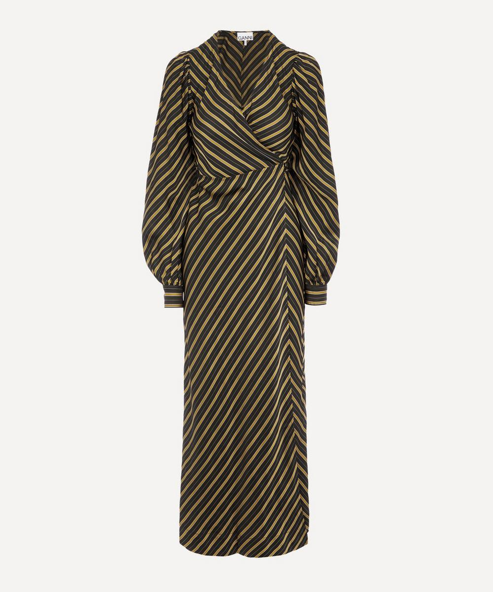 Ganni - Striped Wrap Midi-Dress