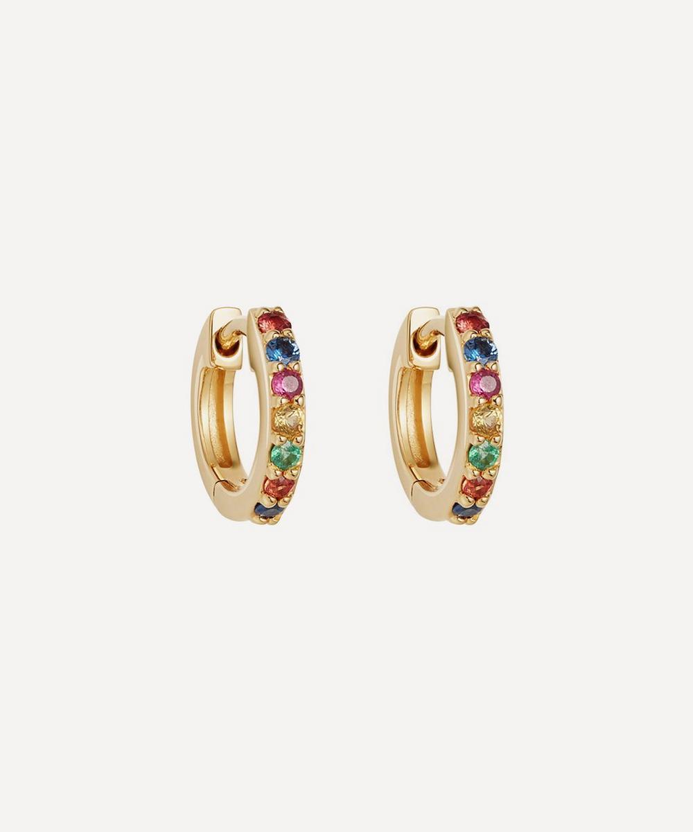 Astley Clarke - Gold Mini Halo Rainbow Sapphire Hoop Earrings