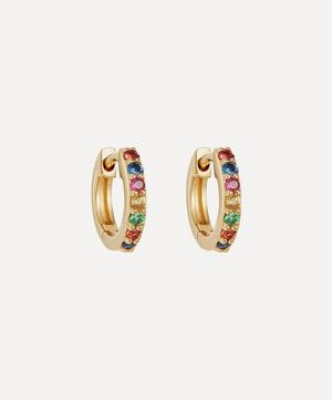 Gold Mini Halo Rainbow Sapphire Hoop Earrings