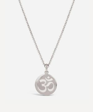Silver Ohm Enamel Disc Pendant Necklace
