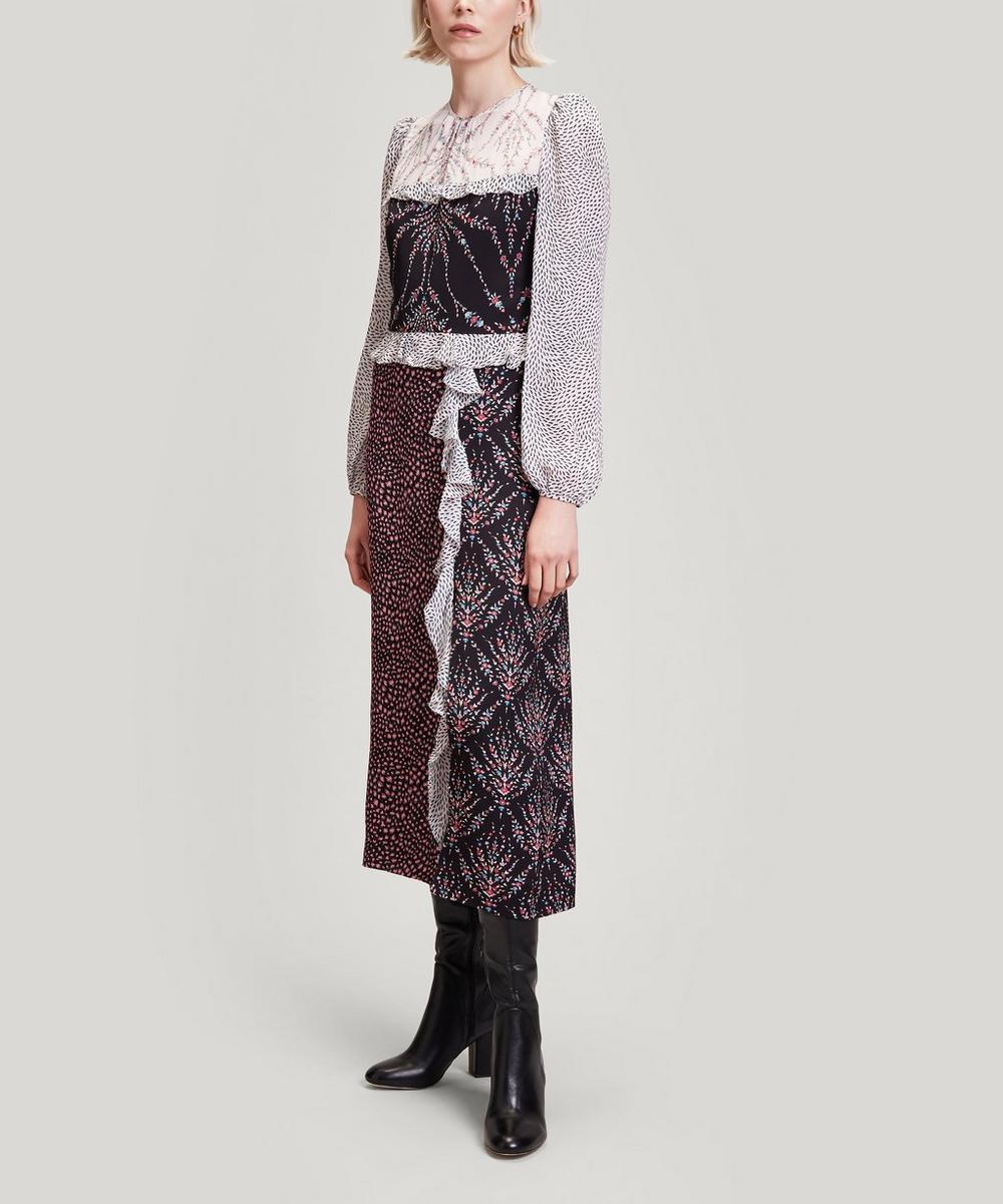 Liberty - Vita Satin and Georgette Sleeved Dress