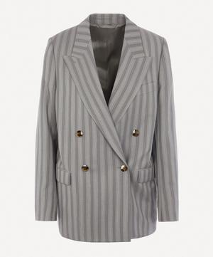 Double-Breasted Pinstripe Suit Jacket