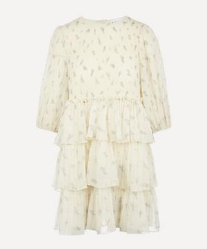 Pleated Georgette Tiered Mini-Dress