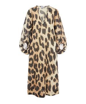 Leopard Print Silk and Linen-Blend Midi-Dress