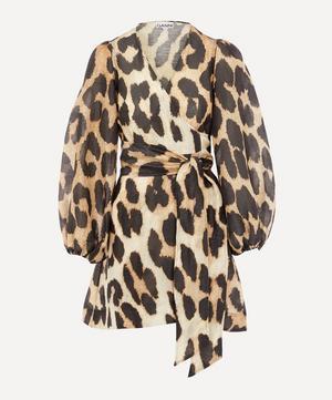 Leopard Print Silk and Linen-Blend Wrap Dress