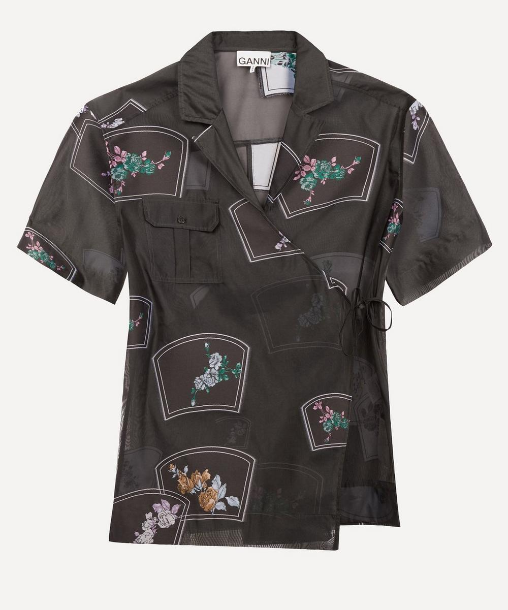 Ganni - Floral-Embroidered Organza Wrap Shirt