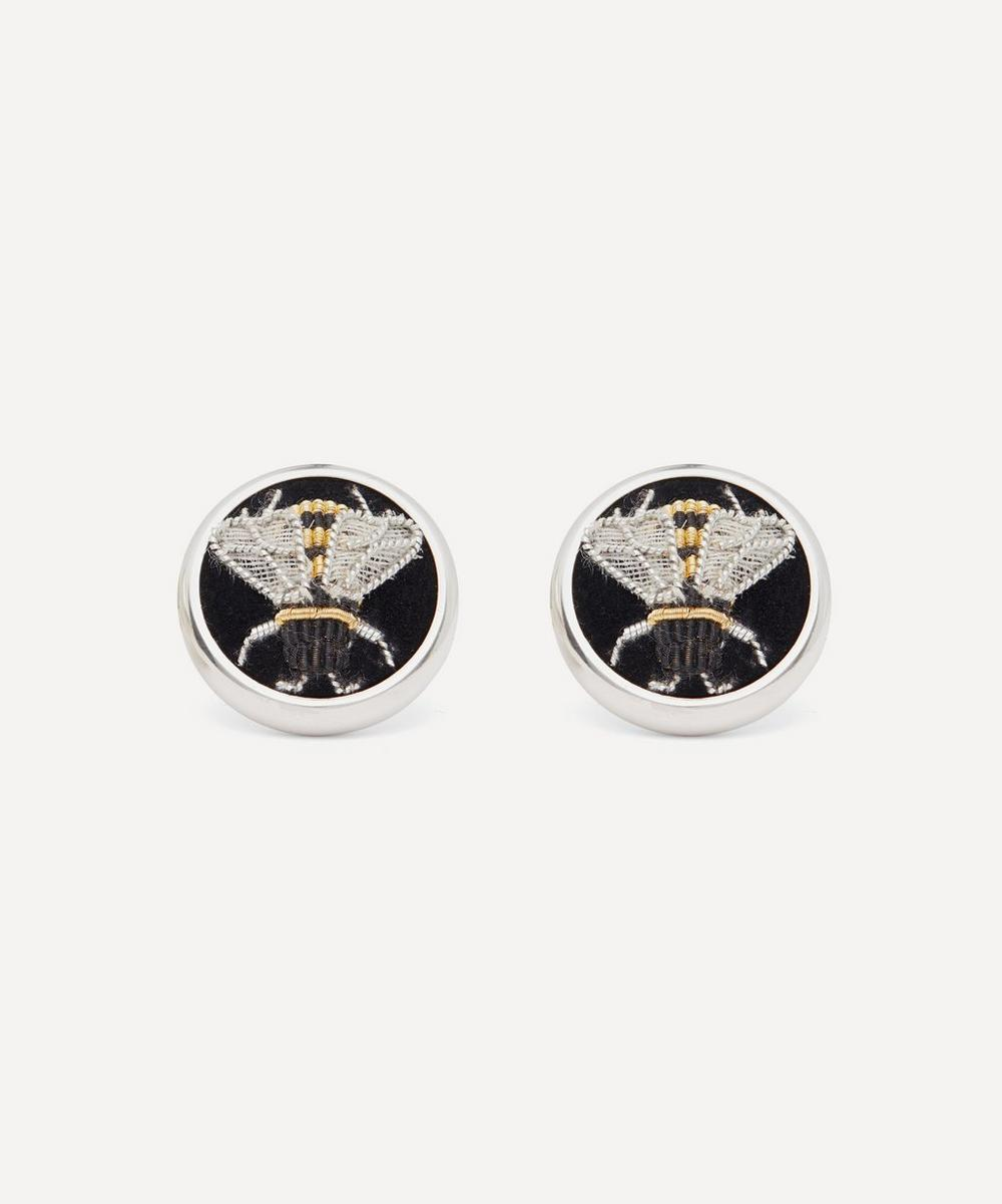 Deakin & Francis - Sterling Silver Embroidered Bee Cufflinks