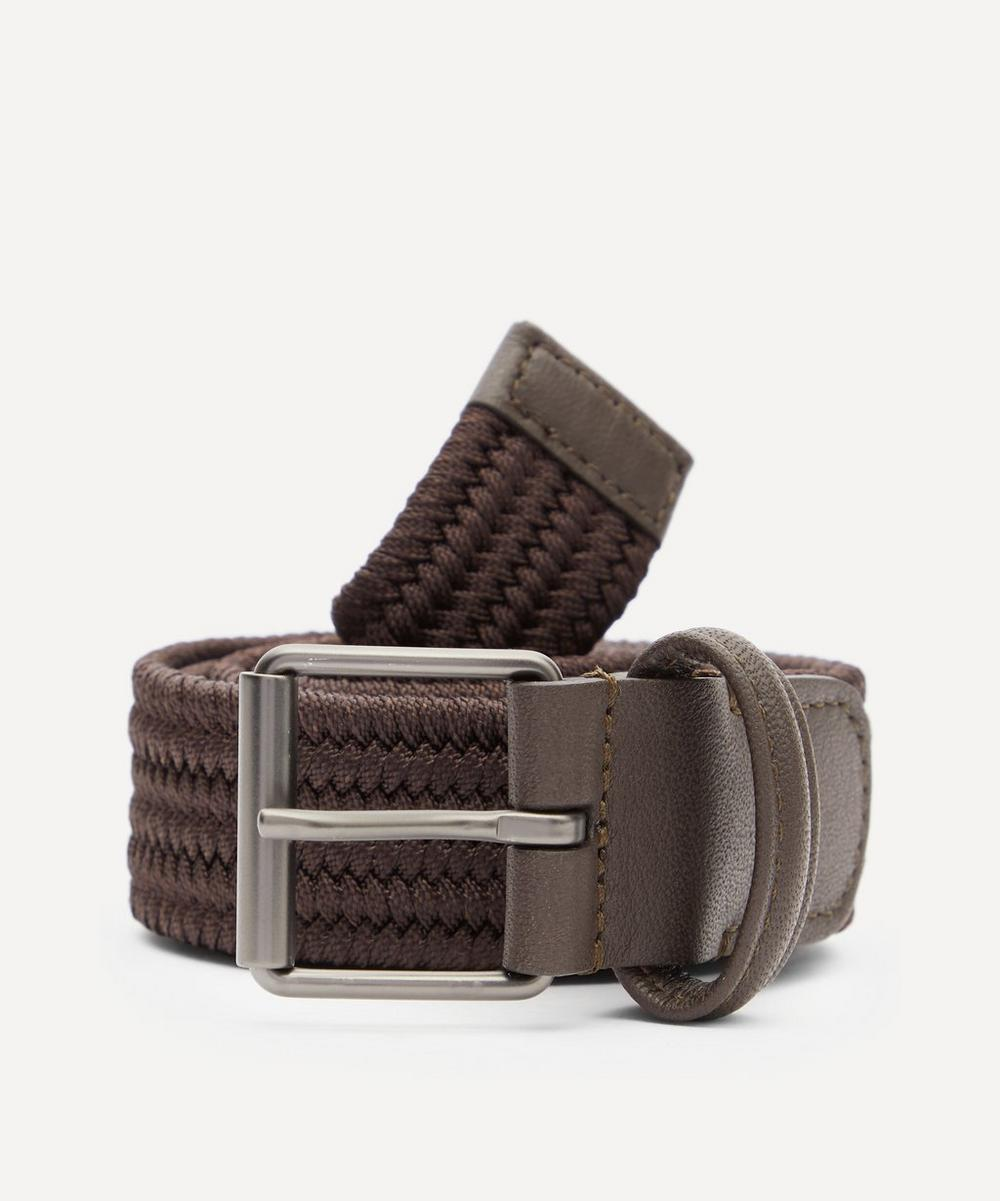 Anderson's - Slim Leather-Trimmed Elasticated Woven Belt