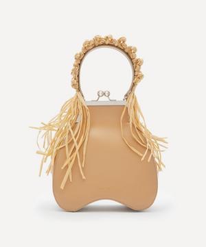 Bean Raffia-Trimmed Leather Handbag