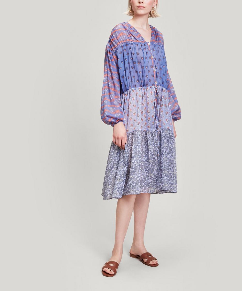Liberty - Mixed Print Cotton Chiffon Midi Dress