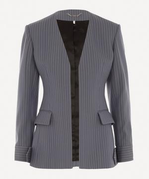 Pinstripe Collarless Tailored Jacket