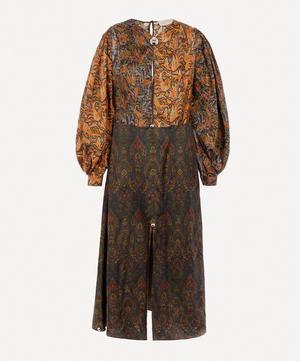 Paisley Patchwork Dome-Embellished Satin Dress
