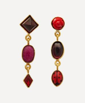 Gold-Plated Asymmetric Multi-Stone Three Charm Drop Earrings