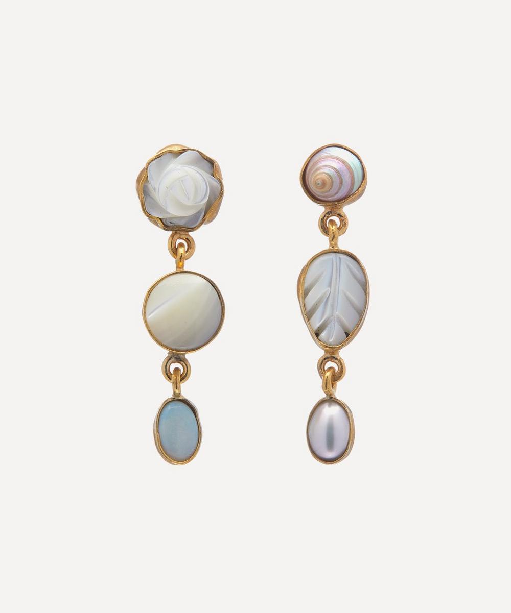 Grainne Morton - Gold-Plated Asymmetric Pearl and Opal Three Charm Drop Earrings
