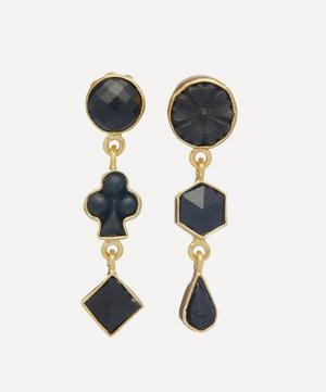 Gold-Plated Asymmetric Black Onyx Three Charm Drop Earrings