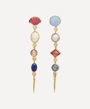 Gold-Plated Asymmetric Four Charm Victorian Drop Earrings