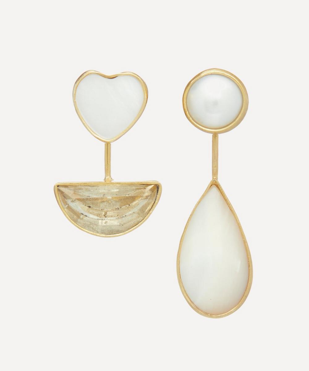 Grainne Morton - Gold-Plated Asymmetric Mother of Pearl Detachable Drop Earrings
