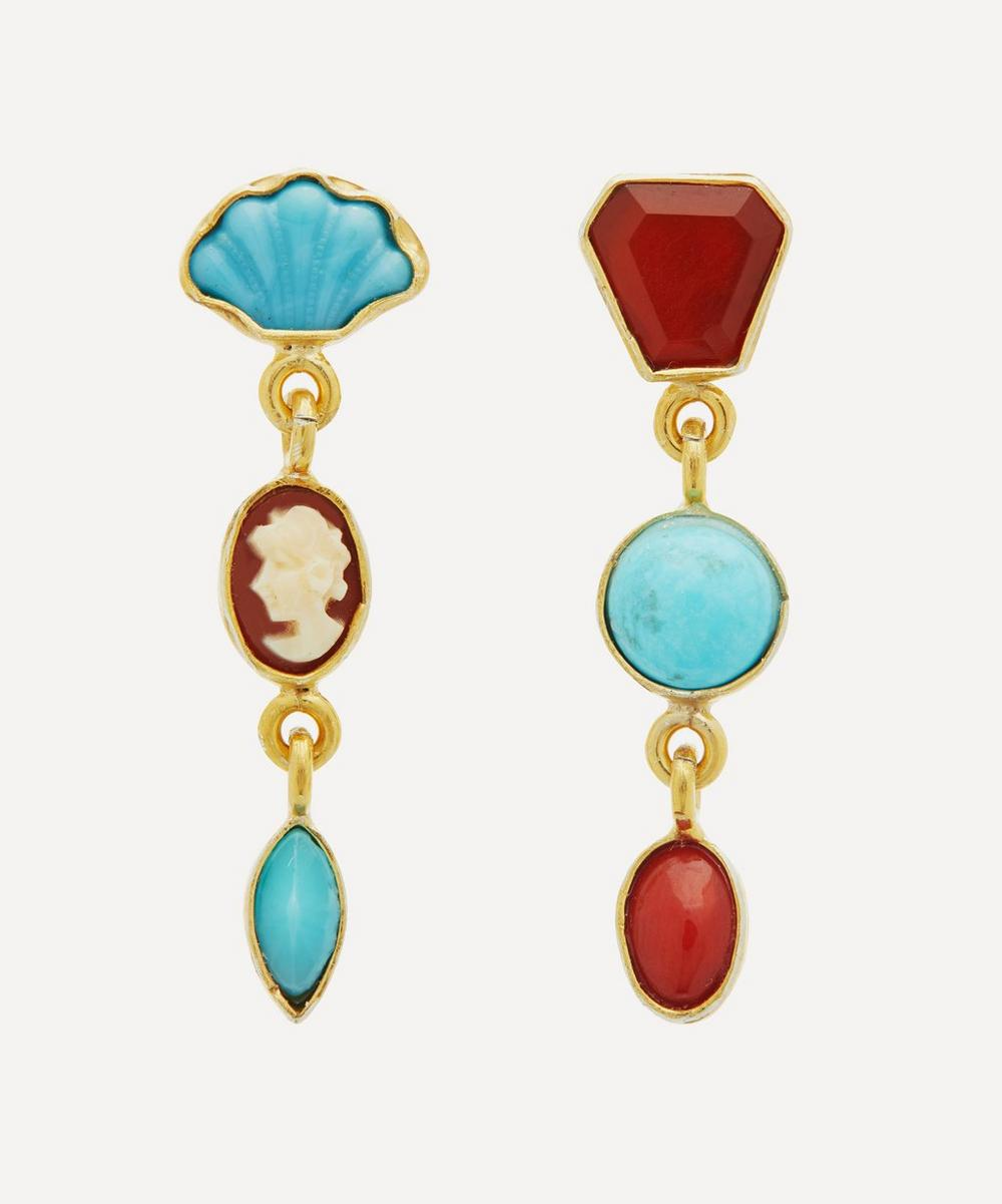 Grainne Morton - Gold-Plated Asymmetric Multi-Stone Three Charm Drop Earrings