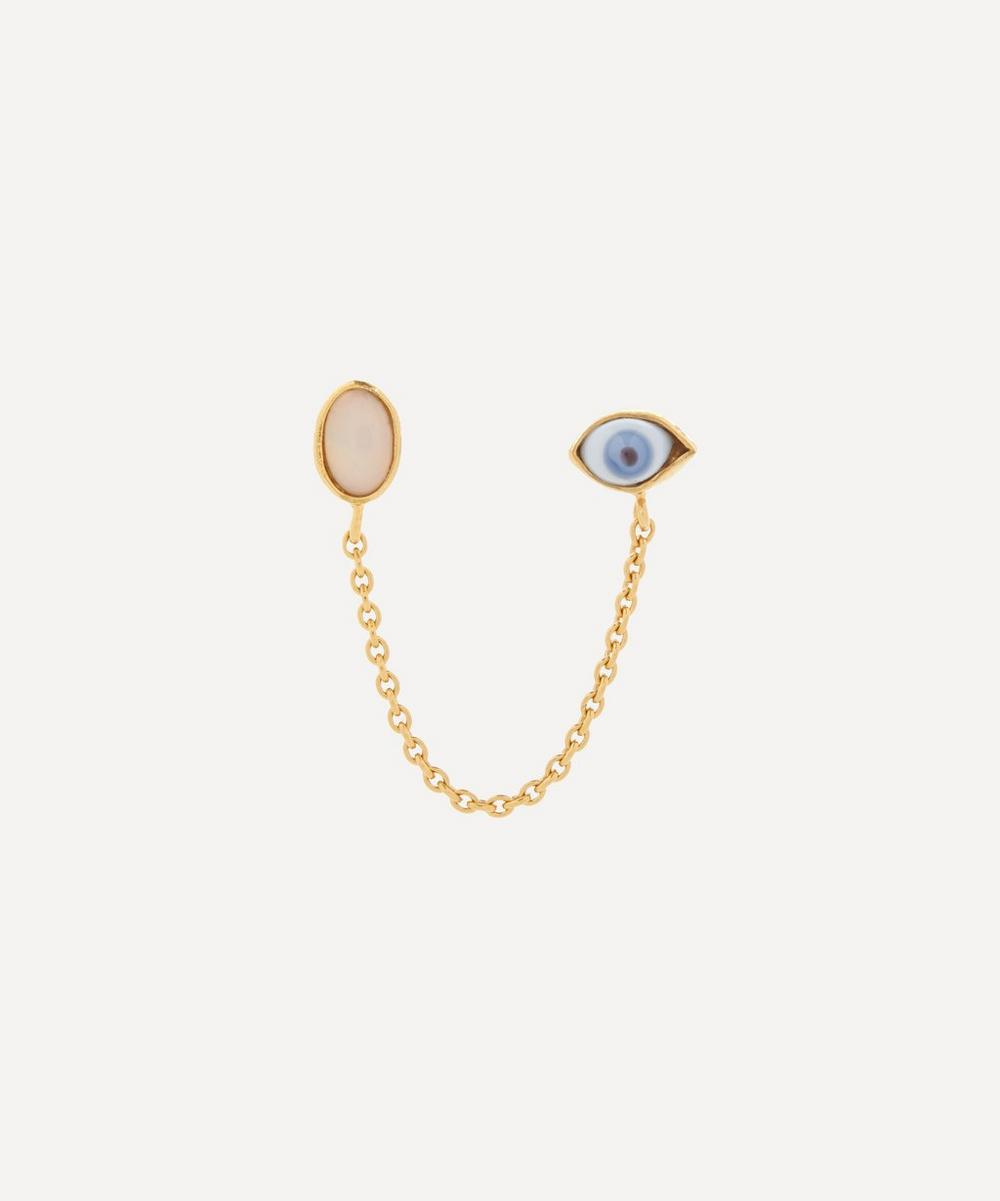 Grainne Morton - Gold-Plated Antique Glass Eye and Opal Double Stud Earring
