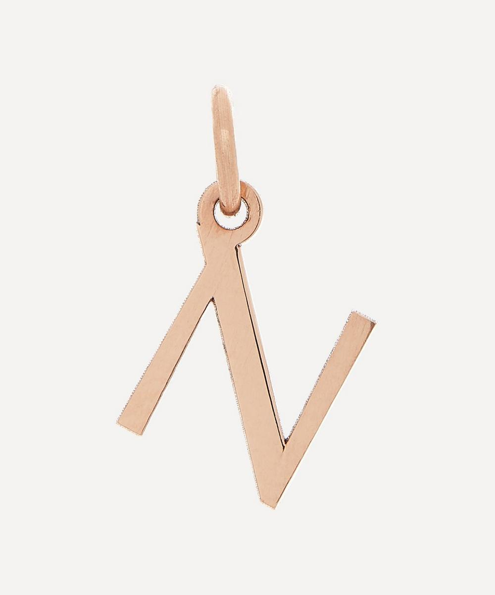 Liberty - 9ct Rose Gold Letter N Alphabet Pendant