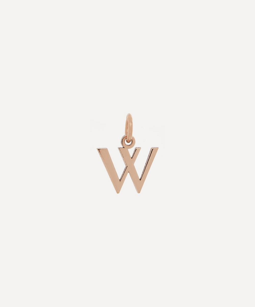 Liberty - 9ct Rose Gold Letter W Alphabet Pendant