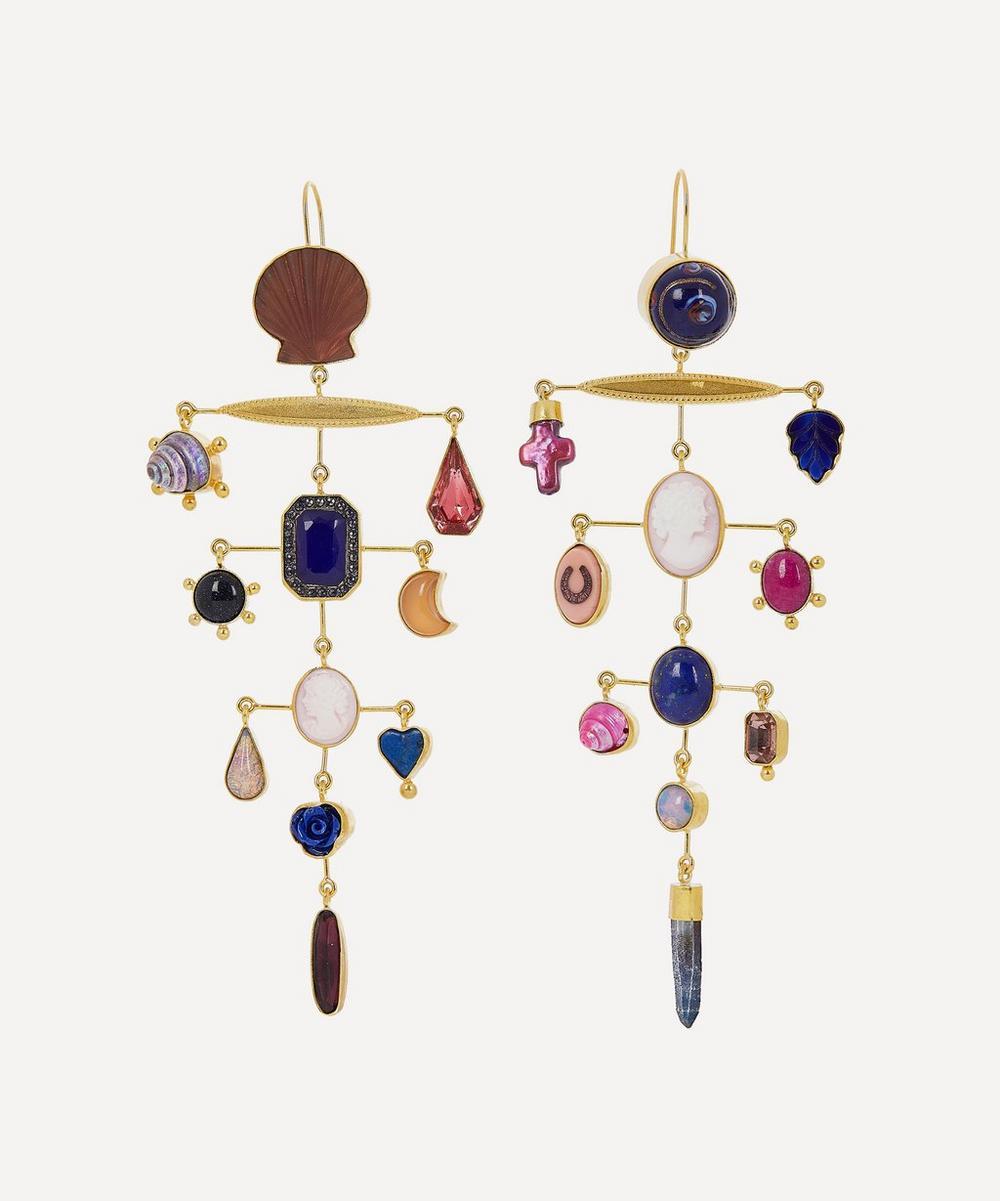 Grainne Morton - Gold-Plated Asymmetric Multi-Stone Chandelier Drop Earrings