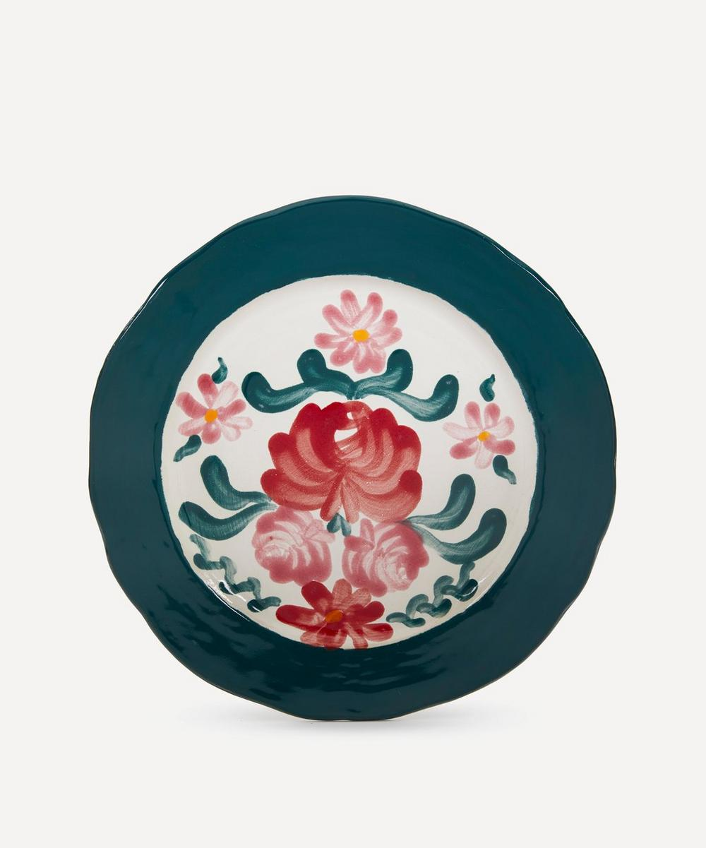Zsuzsanna Nyul - Rose Green Dinner Plate