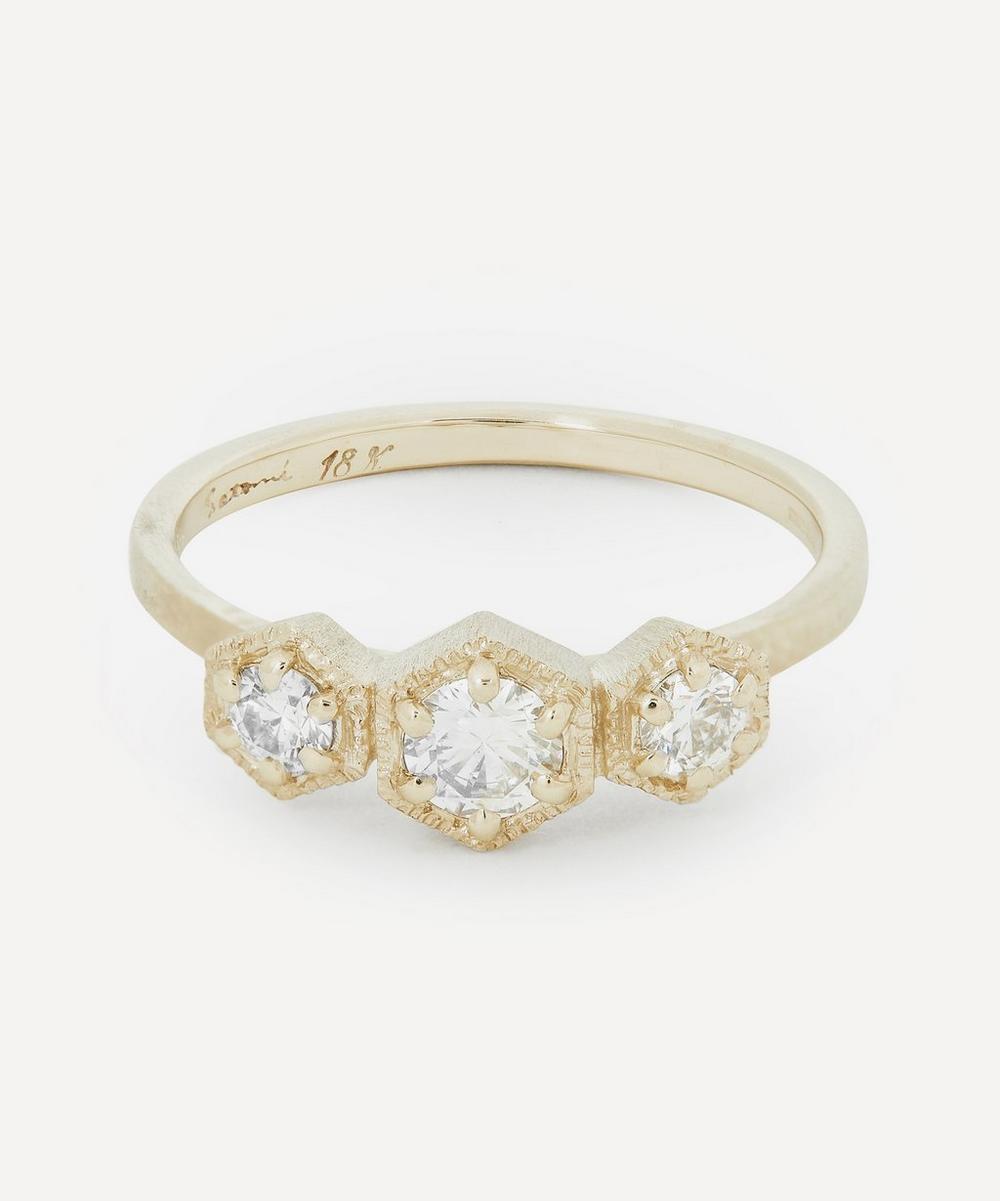 Satomi Kawakita - White Gold Triple Hexagon Diamond Ring