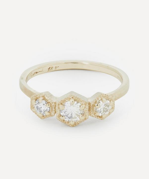 Satomi Kawakita - Gold White Diamond Triple Hexagon Ring
