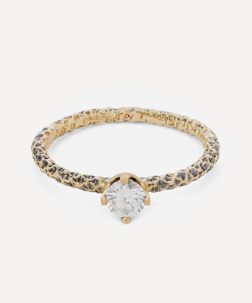 Satomi Kawakita - Gold Homespun Diamond Solitaire Ring