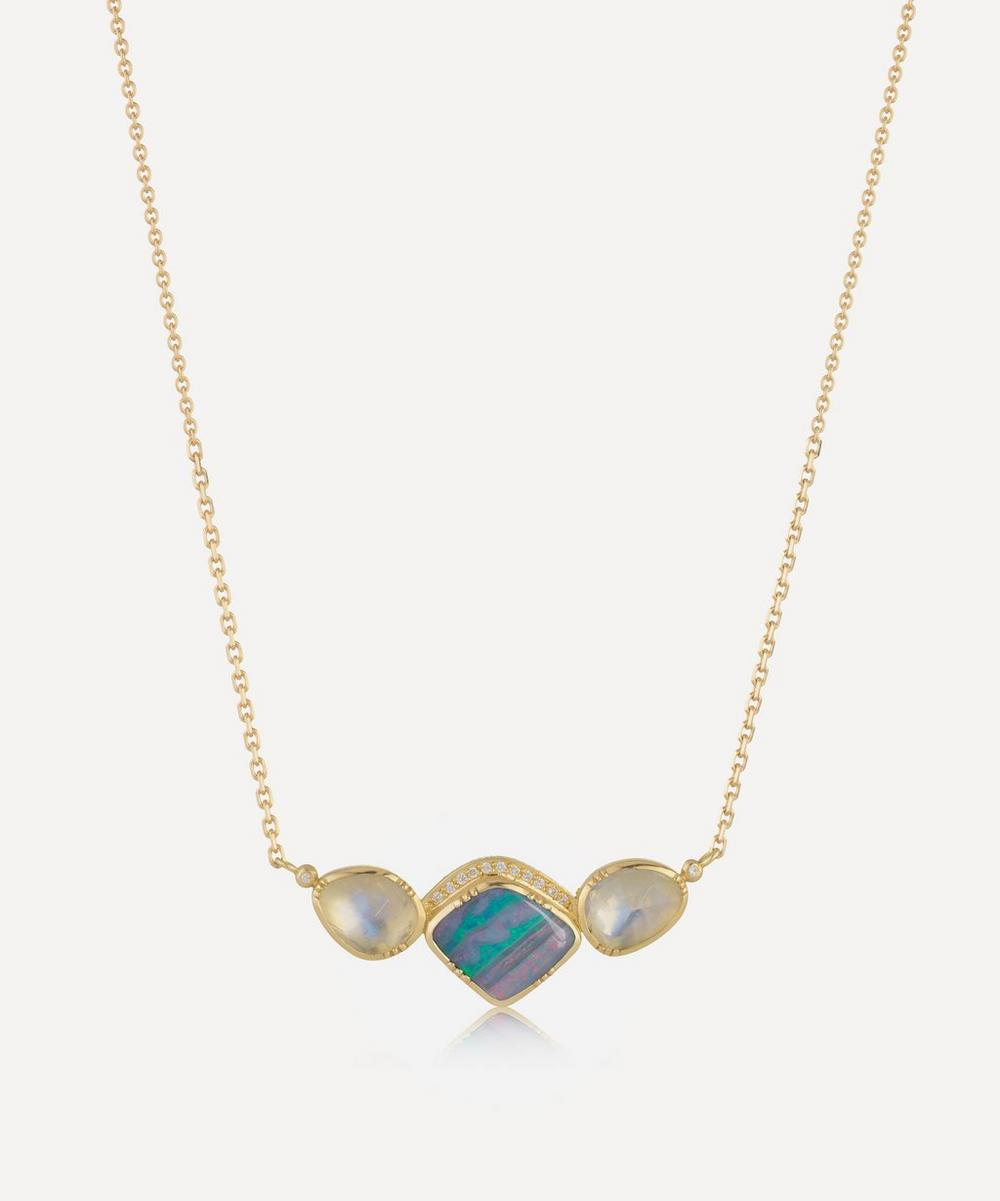 Brooke Gregson - Gold Orbit Halo Opal and Moonstone Necklace