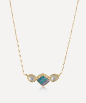 Gold Orbit Halo Opal and Moonstone Necklace