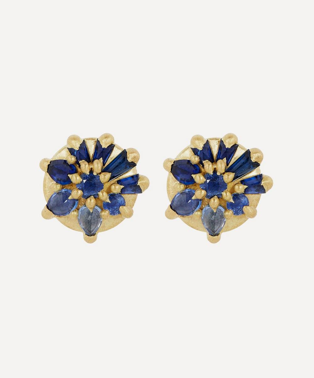 Polly Wales - Gold Lyra Blue Sapphire Stud Earrings