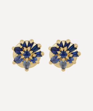 Gold Lyra Blue Sapphire Stud Earrings