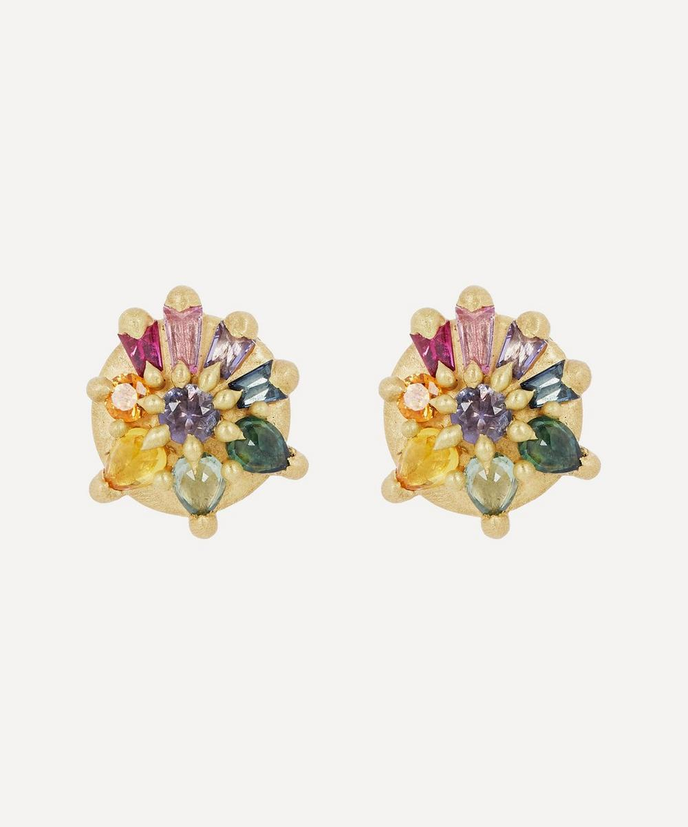 Polly Wales - Gold Lyra Blossom Crush Sapphire Stud Earrings