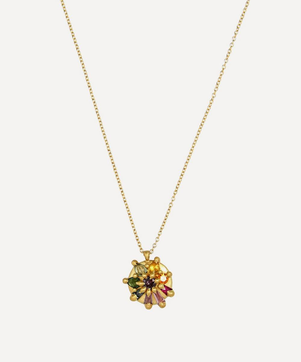 Polly Wales - Gold Lyra Blossom Crush Sapphire Pendant Necklace