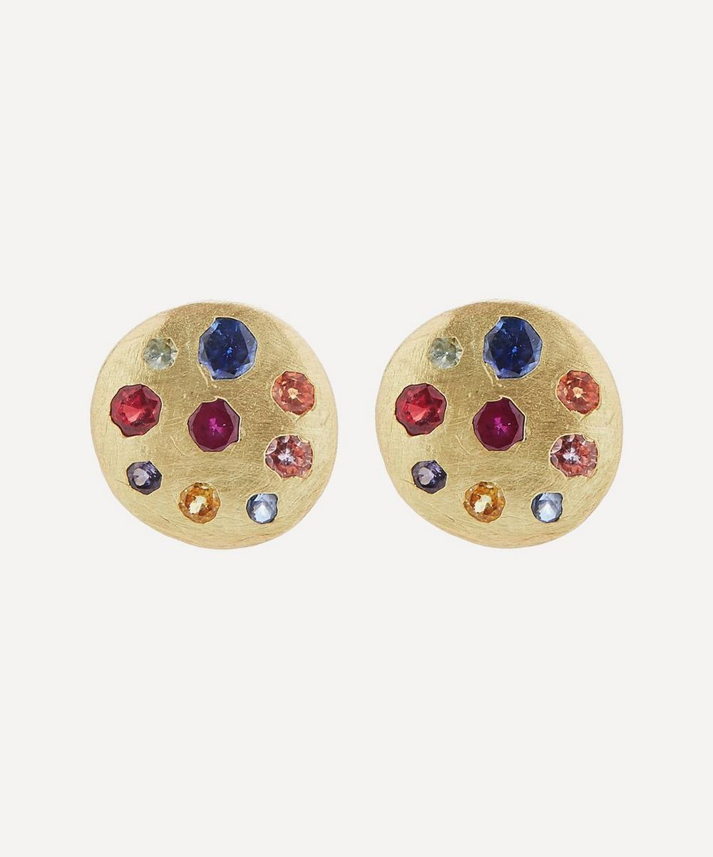 Polly Wales - Gold Celeste Medium Rainbow Sapphire Disc Stud Earrings