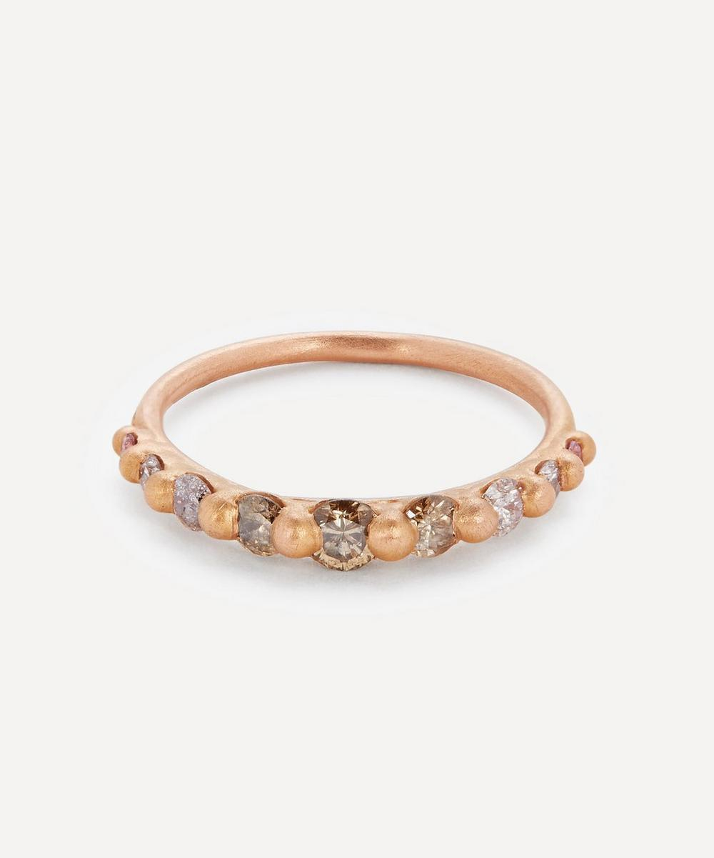 Polly Wales - Rose Gold Lila Diamond Halo Ring