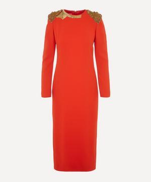 Embellished Shoulder Midi-Dress