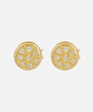 Gold Mini Mars Diamond Stud Earrings