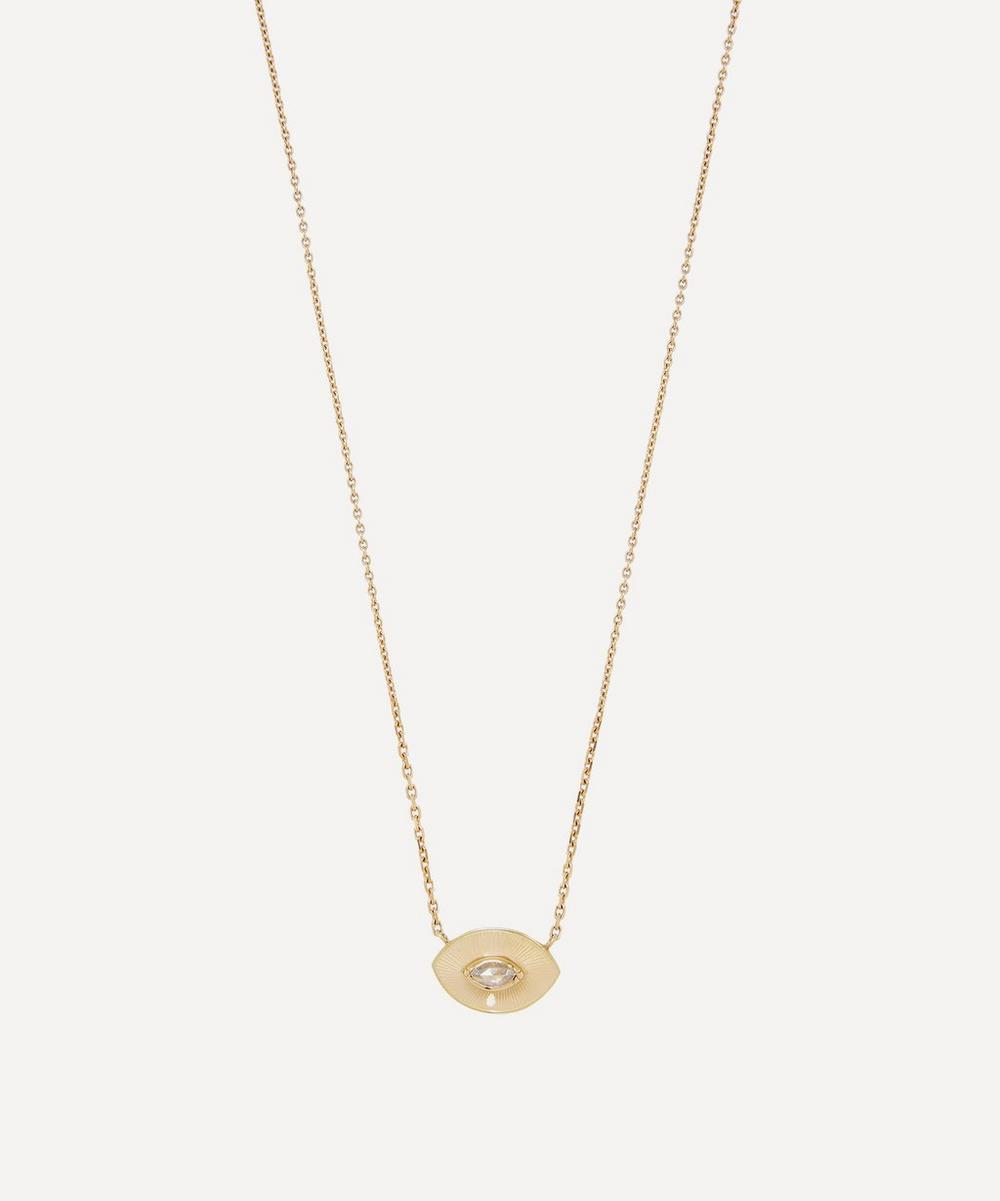 Brooke Gregson - Gold Talisman Engraved Enamel Diamond Pendant Necklace