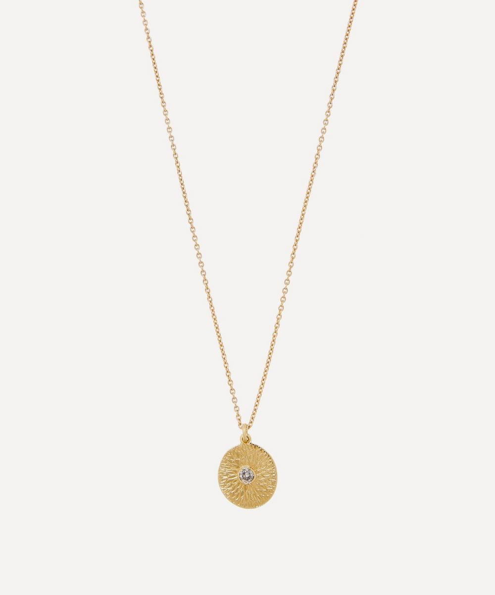 Brooke Gregson - Gold Lotus Mandala Engraved Diamond Pendant Necklace